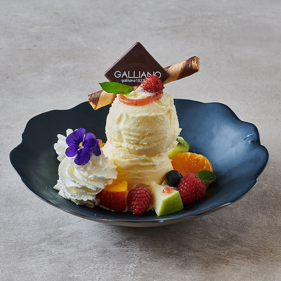 Una delle tante coppe speciali di gelato di Galliano